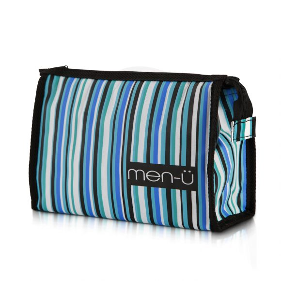 Stripes Toiletry Bag - Black Green Blue
