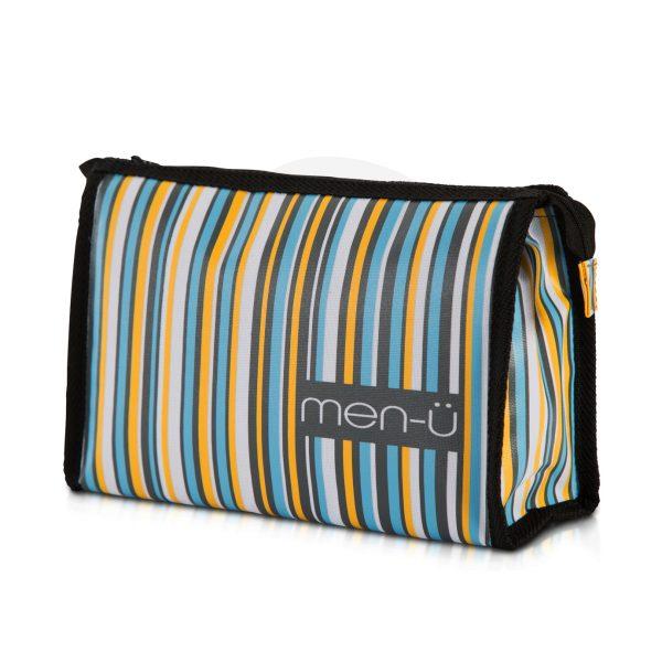 Stripes Toiletry Bag - Grey Blue Yellow